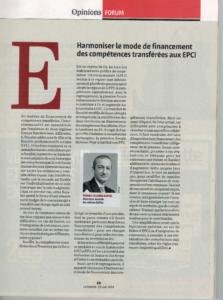 Harmoniser le financement des compétences transférées - EXFILO