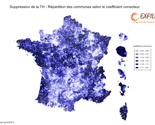 Carte de France du coefficient correcteur Suppression TH - EXFILO